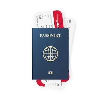 青いパスポートと搭乗券のチケット。