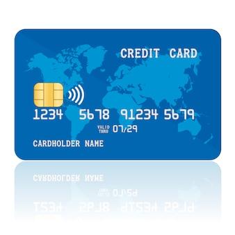 青い非接触クレジットカード。