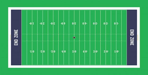 アメリカンフットボールフィールドのトップビュー。