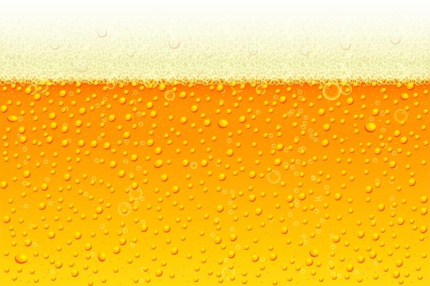 泡の背景を持つ軽いビール。