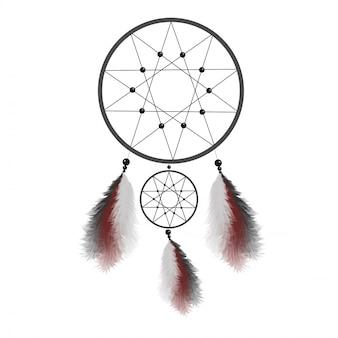 羽のドリームキャッチャー。ネイティブアメリカンインディアンのお守り