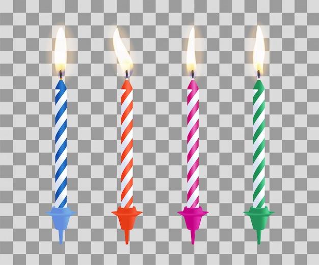誕生日ケーキのろうそくを燃やす