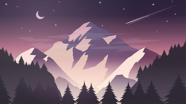 夕暮れ、夜明け、夜の月と星の霧の雪山崖松の木の森自然風景