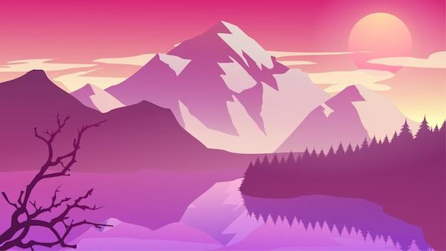 午後、夕暮れ、日の出、日没の霧山の崖の松の木の森自然湖の風景