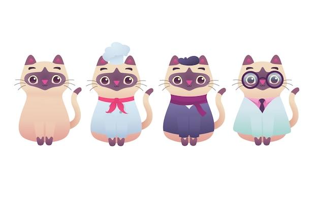 かわいい愛らしいキティ猫プロフェッショナルワーカーマスコットモダンなフラットイラストキャラクター、シェフ、アーティスト、デザイナー、医師、教授
