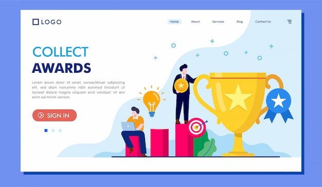 ランディングページのウェブサイトイラストベクターデザインを受賞
