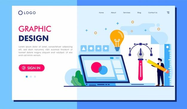 グラフィックデザインのランディングページのウェブサイトイラストベクターデザイン
