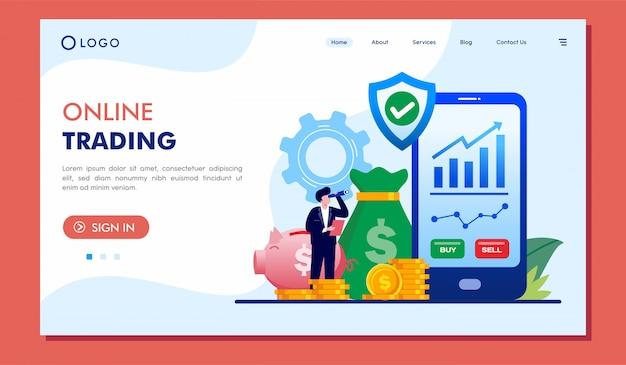 オンライン取引のランディングページのウェブサイトイラストベクターデザイン
