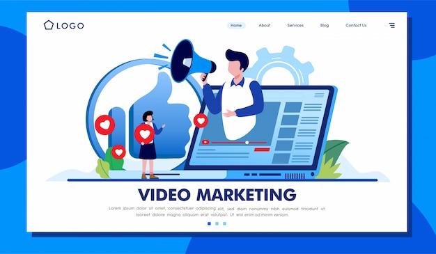 ビデオマーケティングのランディングページのウェブサイトイラストベクターデザイン