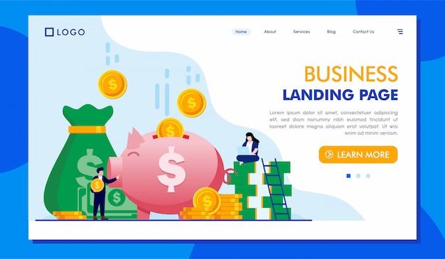 ビジネスランディングページウェブサイトイラストテンプレート