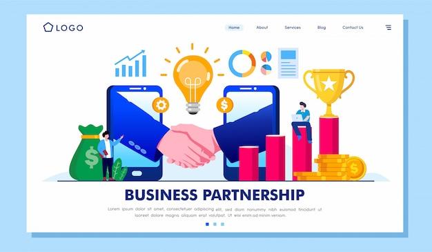 ビジネスパートナーシップコラボレーションランディングページイラストベクトル