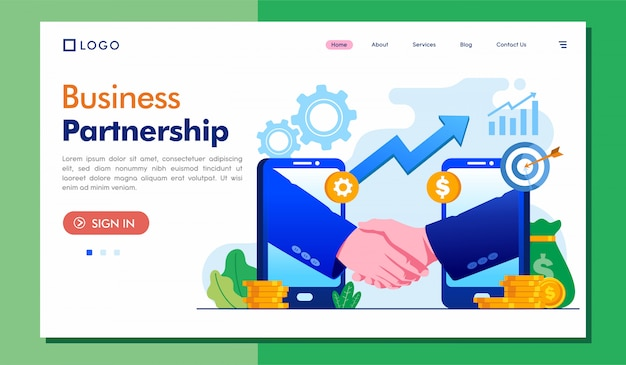 Веб-сайт целевой страницы делового партнерства
