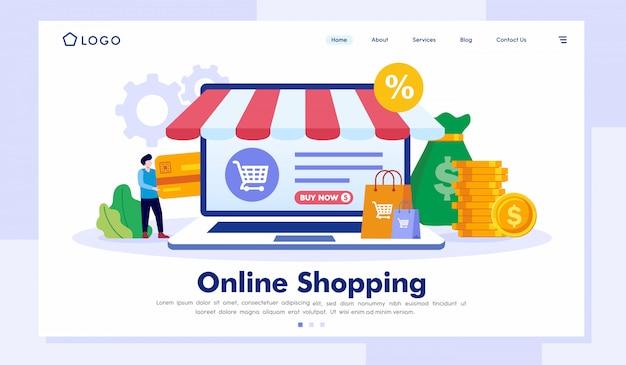 オンラインショッピングのリンク先ページのウェブサイトベクトルテンプレート