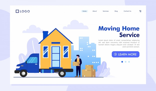 移動ホームサービスのランディングページのウェブサイトイラストベクトルテンプレート