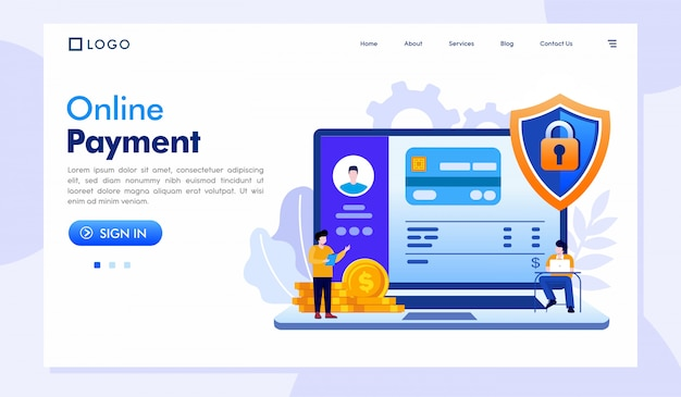 Шаблон веб-сайта целевой страницы для онлайн-платежей