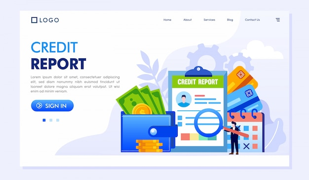 Иллюстрация веб-сайта целевой страницы кредитного отчета