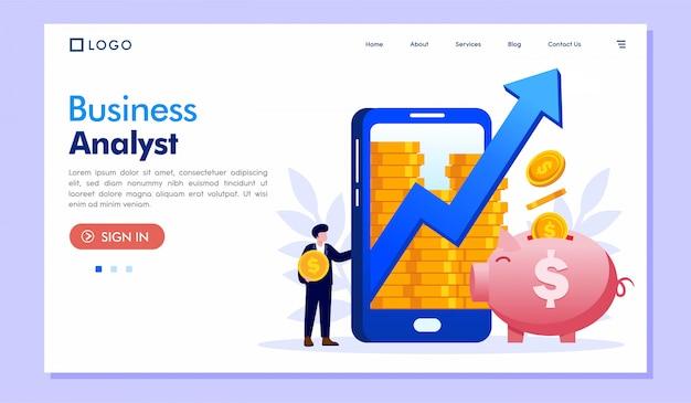 ビジネスアナリストのランディングページウェブサイトイラストベクトル