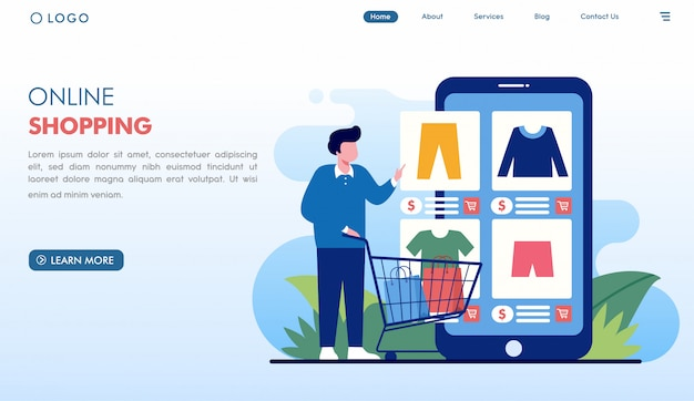 フラットスタイルのオンラインショッピング注文ファッションランディングページ