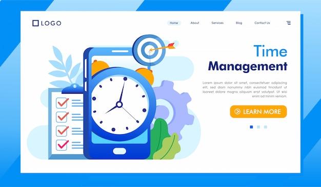 Тайм-менеджмент целевой страницы веб-сайта иллюстрация вектор