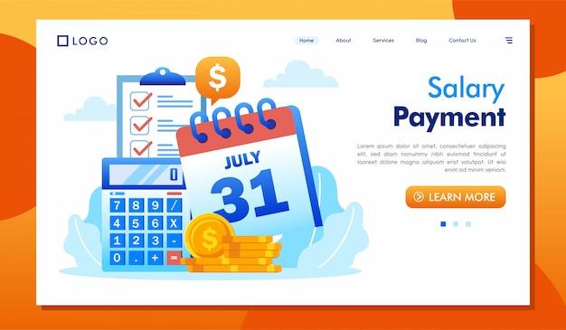 給与支払いのランディングページのウェブサイトイラスト