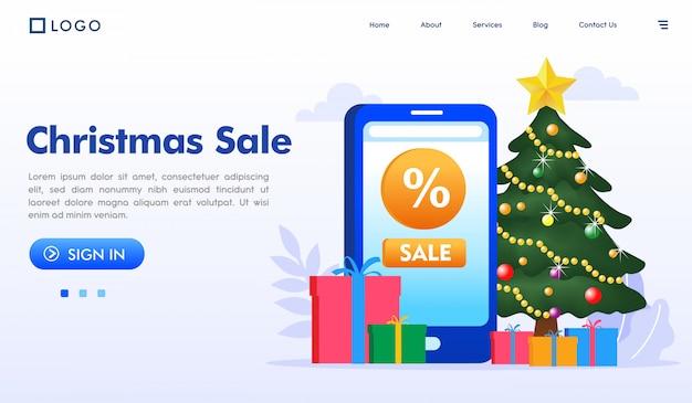 Вектор иллюстрации вебсайта целевой страницы рождественской продажи