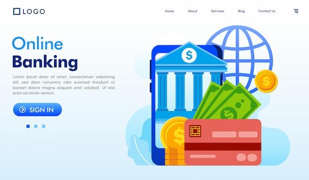オンラインバンキングのランディングページウェブサイトイラストベクトル