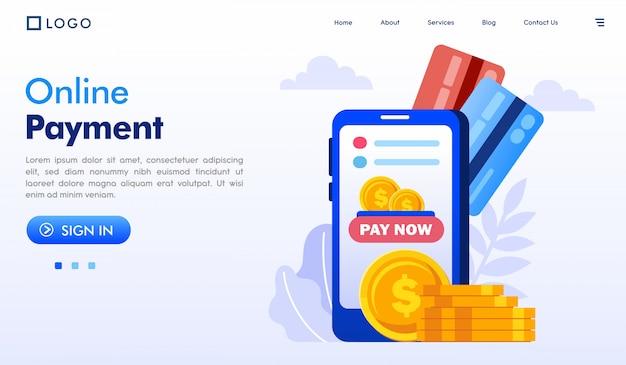 オンライン決済のランディングページのウェブサイトイラスト
