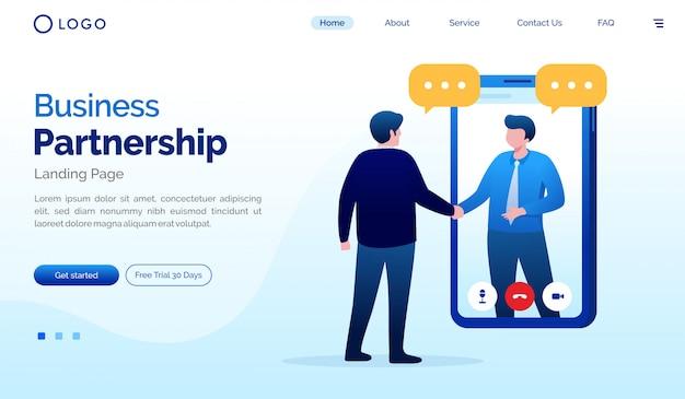 ビジネスパートナーシップのランディングページのウェブサイトの図