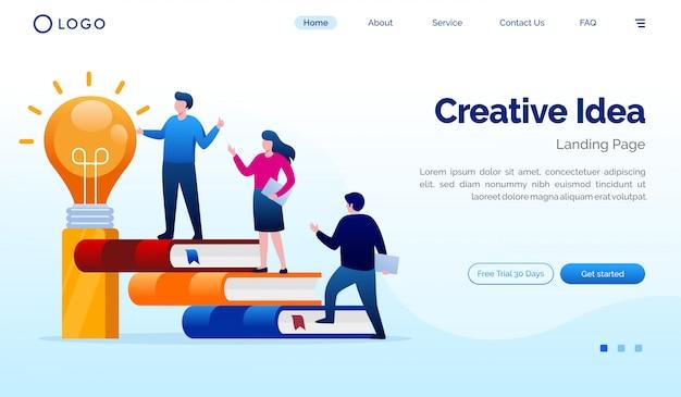 創造的なアイデアのランディングページのウェブサイトの図