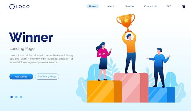 勝者のランディングページのウェブサイトイラストベクトルテンプレート