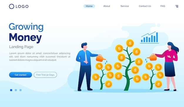成長しているお金のランディングページウェブサイトイラストフラットベクトルテンプレート