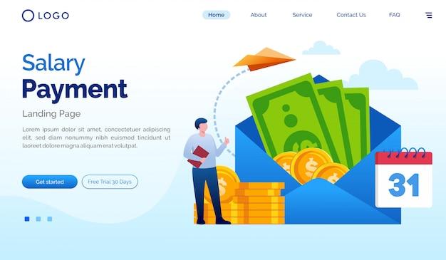 給与支払いランディングページのウェブサイト図フラットベクトルテンプレート