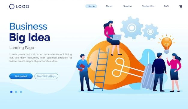 Бизнес большая идея целевой страницы веб-сайта иллюстрации плоский вектор шаблон