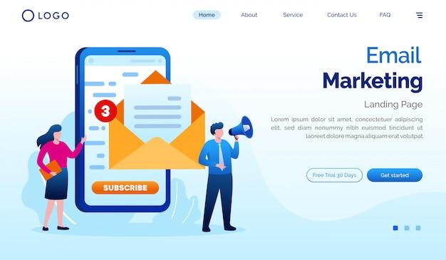 メールマーケティングのランディングページのウェブサイト図フラットベクトルテンプレート