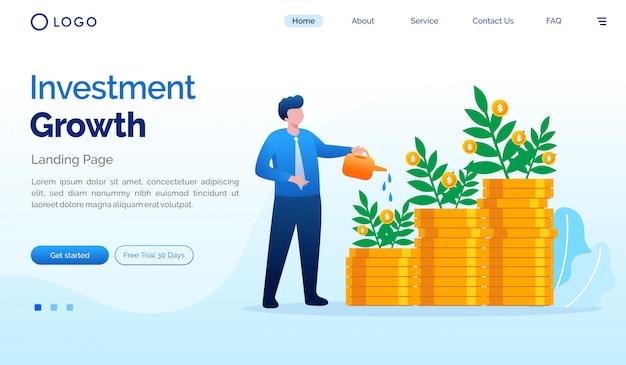 投資着陸ページのウェブサイトフラットベクトルテンプレート