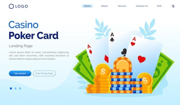 カジノポーカーカードのランディングページウェブサイトフラットテンプレート