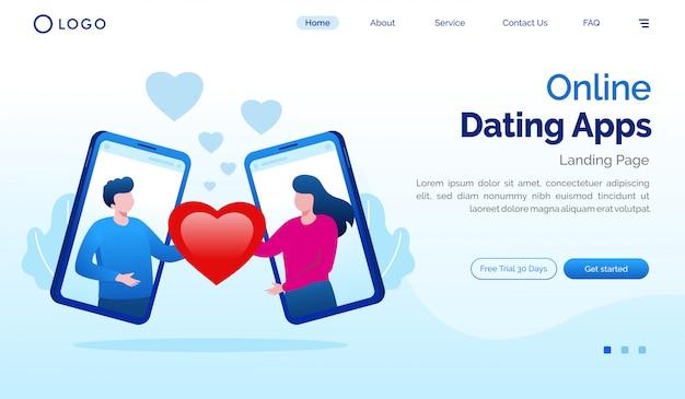 Плоский шаблон веб-сайта целевой страницы приложений для знакомств