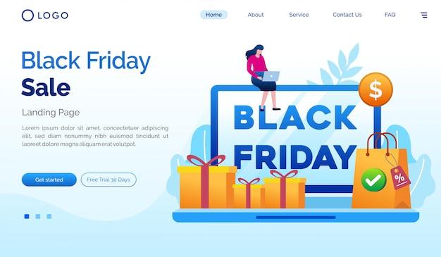 Черная пятница продажи целевой страницы веб-сайта плоский шаблон