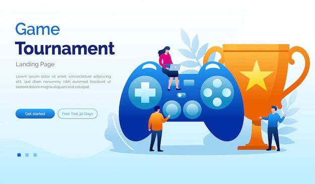 ゲームトーナメントランディングページウェブサイトイラストフラットテンプレート