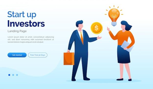 スタートアップ投資家のランディングページウェブサイトイラストフラットテンプレート