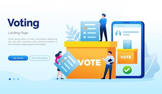投票選挙のランディングページのウェブサイト図フラットテンプレート