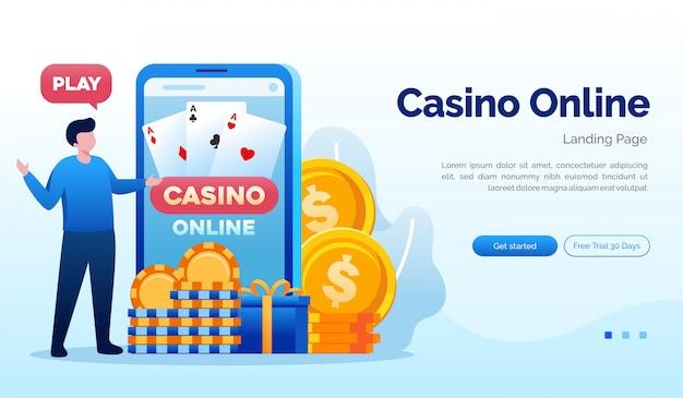 Шаблон плоской иллюстрации веб-сайта целевой страницы казино онлайн