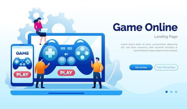 ゲームオンラインランディングページウェブサイトイラストフラットテンプレート