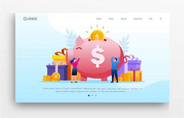 投資ランディングページのウェブサイトイラストフラットテンプレート