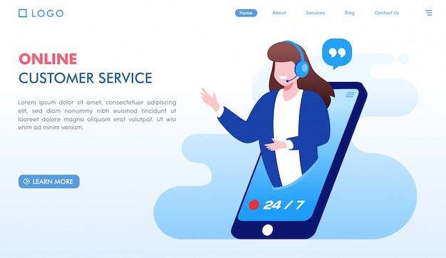 オンライン顧客サービスのランディングページテンプレート