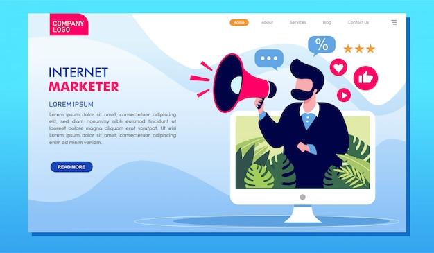 インターネットマーケティング担当者のオンライン広告ウェブサイトのランディングページ
