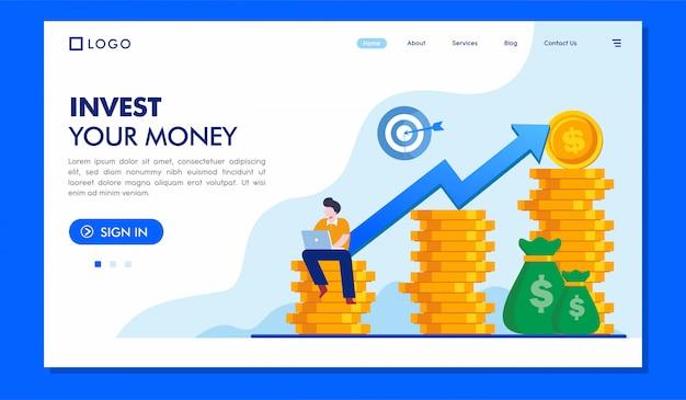 お金のランディングページのウェブサイトのイラストを投資する