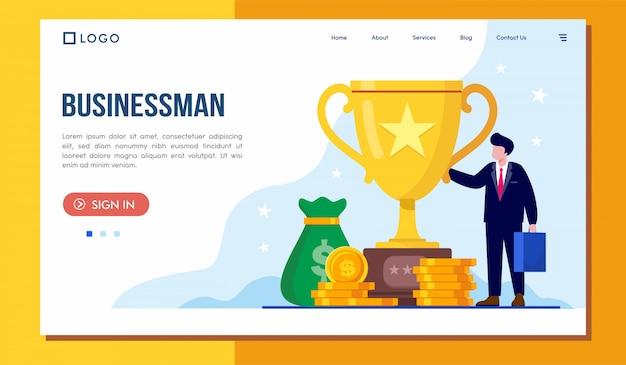 Дизайн вектора иллюстрации вебсайта целевой страницы бизнесмена