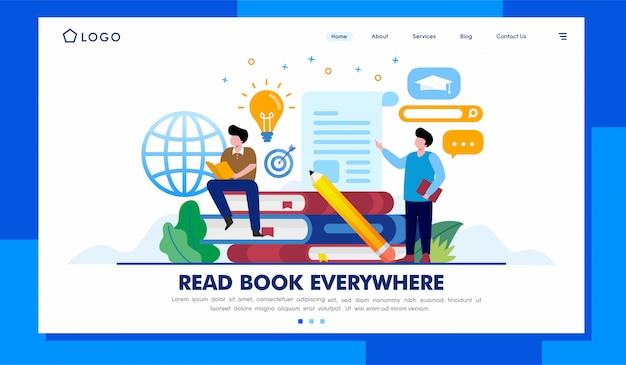 Прочитайте дизайн вектора иллюстрации вебсайта целевой страницы книги
