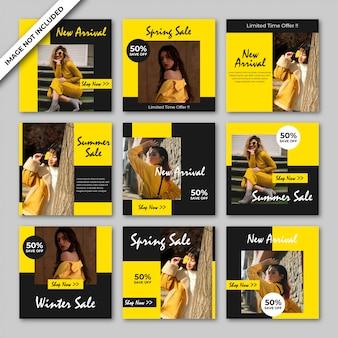 Шаблон сообщения желтой моды в социальных сетях